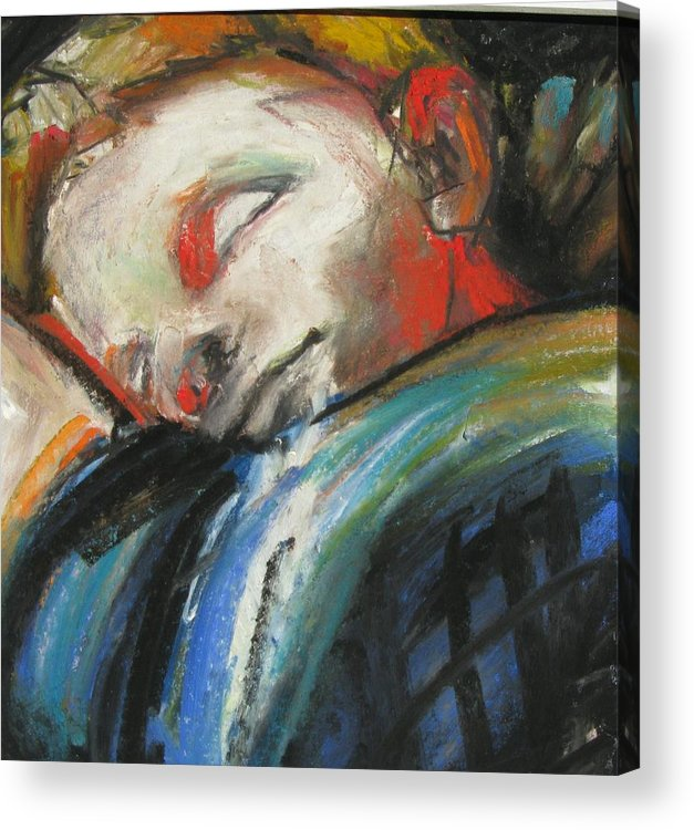 Sleeping Boy Acrylic Print featuring the painting Just Closing My Eyes by Michelle Winnie