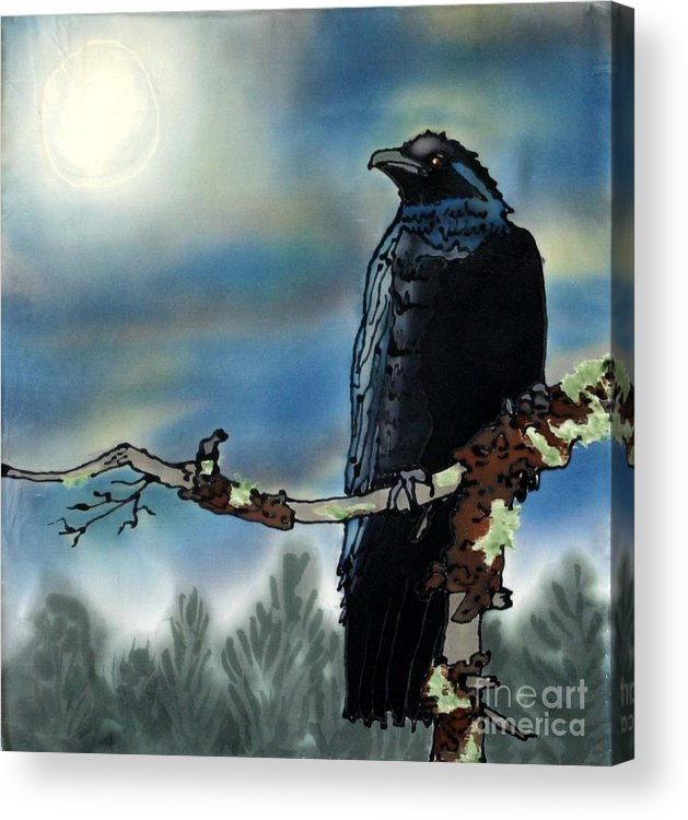 Silk Acrylic Print featuring the painting Raven Moon by Linda Marcille