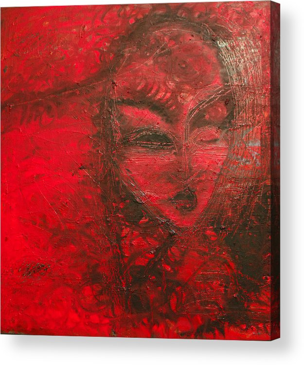 Woman Acrylic Print featuring the painting Red Stain by Erika Brown