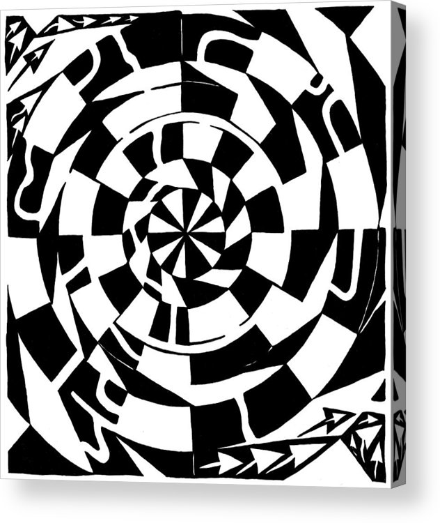 Spinning Acrylic Print featuring the drawing Spinning Tunnel Maze by Yonatan Frimer Maze Artist