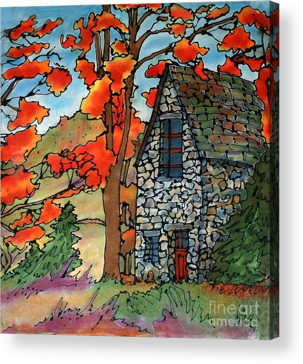 Fall Acrylic Print featuring the painting Stone Cottage Silk Painting by Linda Marcille