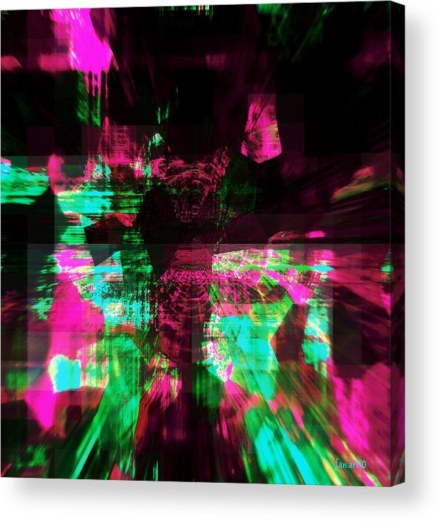 Fania Simon Acrylic Print featuring the mixed media Think Pink For A Cure by Fania Simon