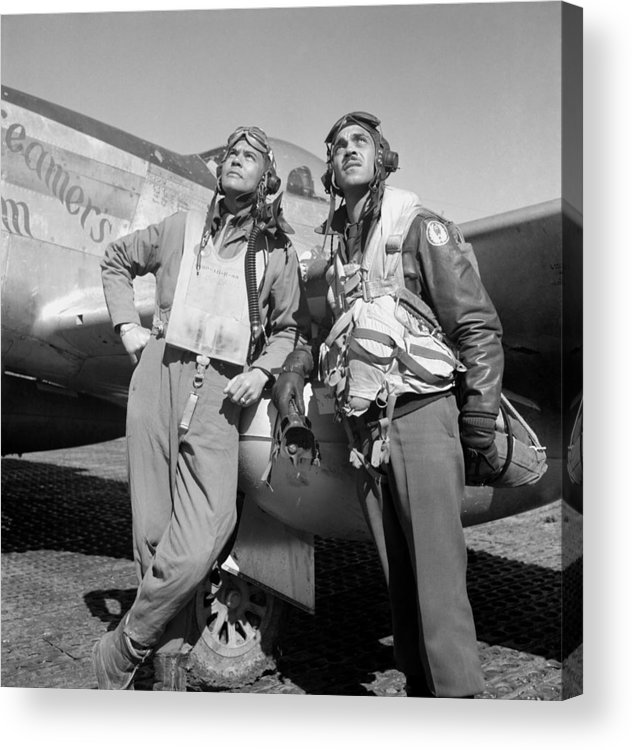 Benjamin Davis Acrylic Print featuring the photograph Tuskegee Airmen by War Is Hell Store