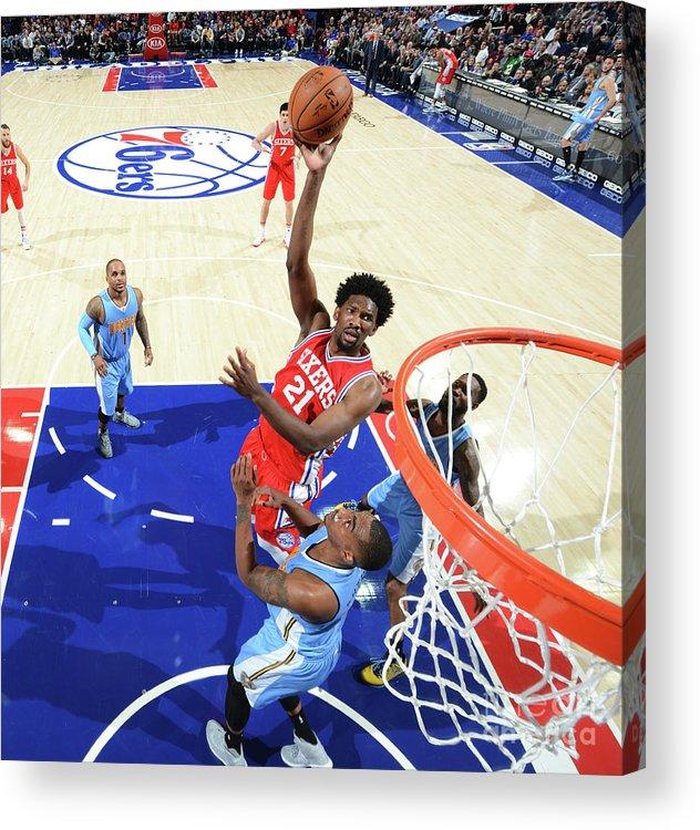 Nba Pro Basketball Acrylic Print featuring the photograph Philadelphia 76ers V Denver Nuggets by Jesse D. Garrabrant