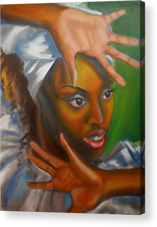 African Woman Acrylic Print featuring the painting Dance Of Hands by Kaytee Esser