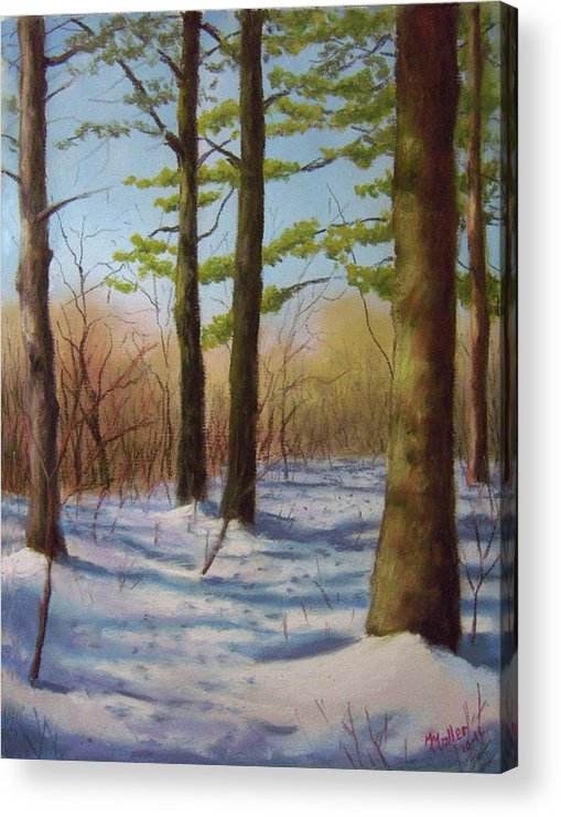 Pine Trees Acrylic Print featuring the pastel Pines In Winter by Marcus Moller