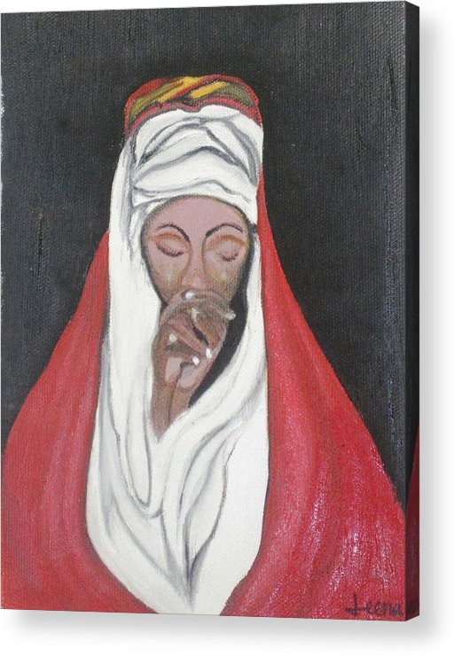 Praying Woman Acrylic Print featuring the painting Praying Woman-oil Painting by Rejeena Niaz