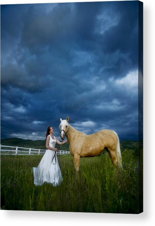 Beautiful Acrylic Print featuring the photograph Bride And Horse With Storm by Nick Sokoloff