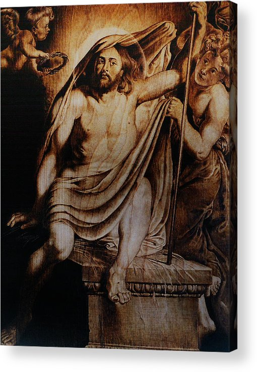 Dino Muradian Acrylic Print featuring the pyrography Christ Risen by Dino Muradian