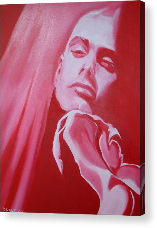Erotic Male Portrait Abstract Red Acrylic Print featuring the painting Fantasy by Davinia Hart