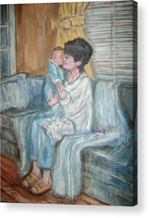 People Couch Window Child Portrait Acrylic Print featuring the painting Mother And Child R by Joseph Sandora Jr