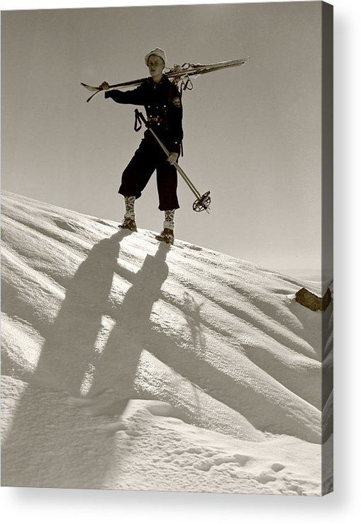 Skiing Acrylic Print featuring the photograph Skier by Unknown