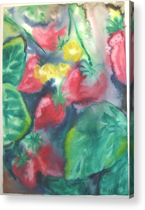 Garden Acrylic Print featuring the painting Strawberries by Dodd Holsapple
