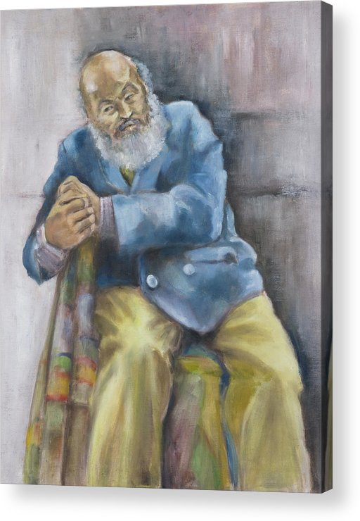 Portrait Acrylic Print featuring the painting The Yellow Pants by Victoria Shea