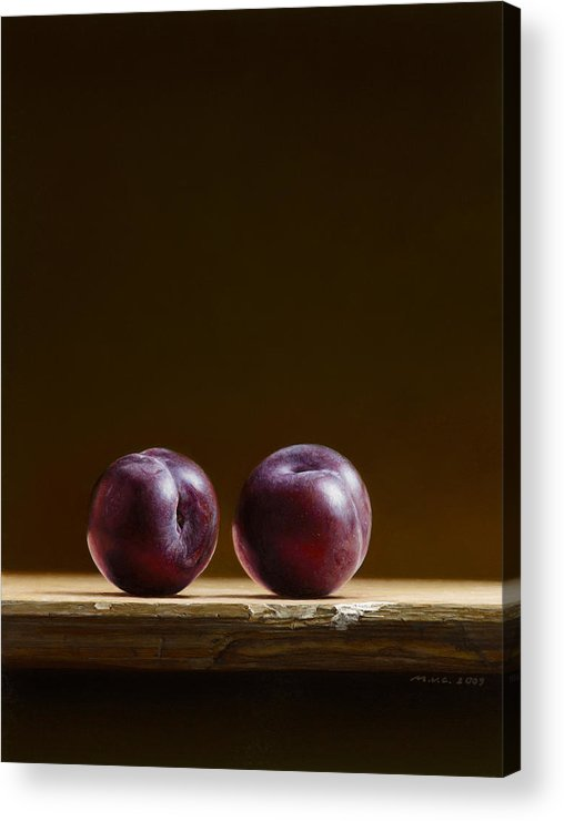 Stillife Acrylic Print featuring the painting Two Plums by Mark Van crombrugge