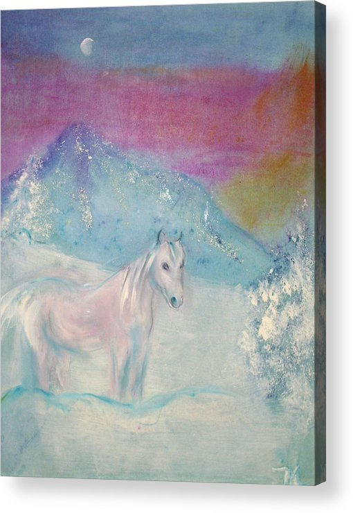 Landscape Acrylic Print featuring the painting Young Horse On Snowy Mountain by Michela Akers