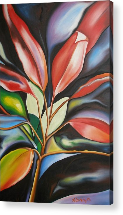 Nature Acrylic Print featuring the painting Flowetry by Lance Clarke