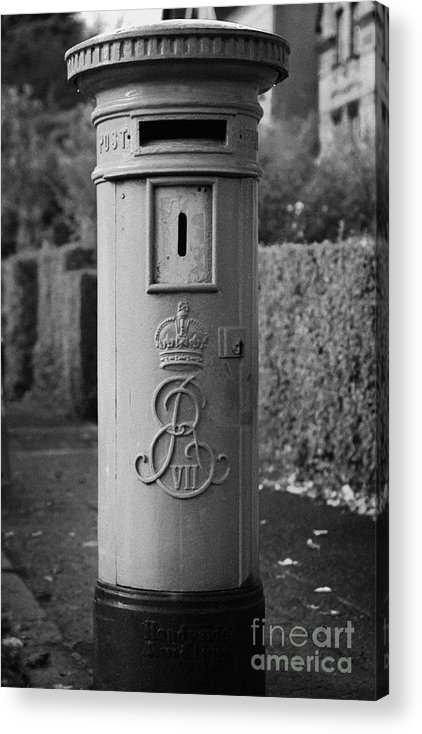 Europe Acrylic Print featuring the photograph red old historic post pillar box manufactured by Handyside of Derby and London with Edward the seventh crown E Rex and VII symbols by Joe Fox