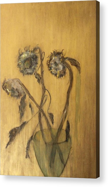 Floral Acrylic Print featuring the painting Sunflowers On Gold by Michela Akers