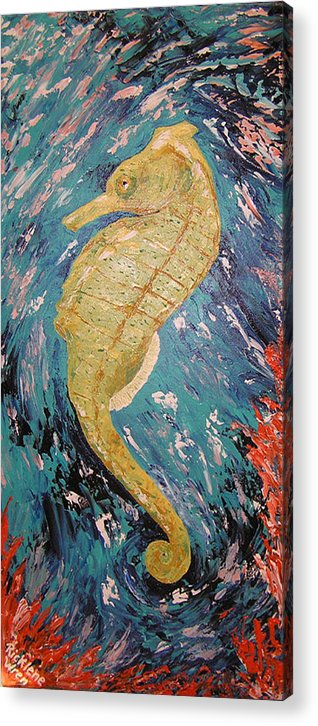 Seahorse Acrylic Print featuring the painting Seahorse Number 2 by Ricklene Wren