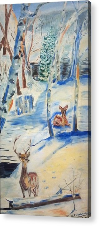 North New Jersy Winter Landscape Deers Birch Trees Acrylic Print featuring the painting Wanaque Winter Nj by Alfred P Verhoeven