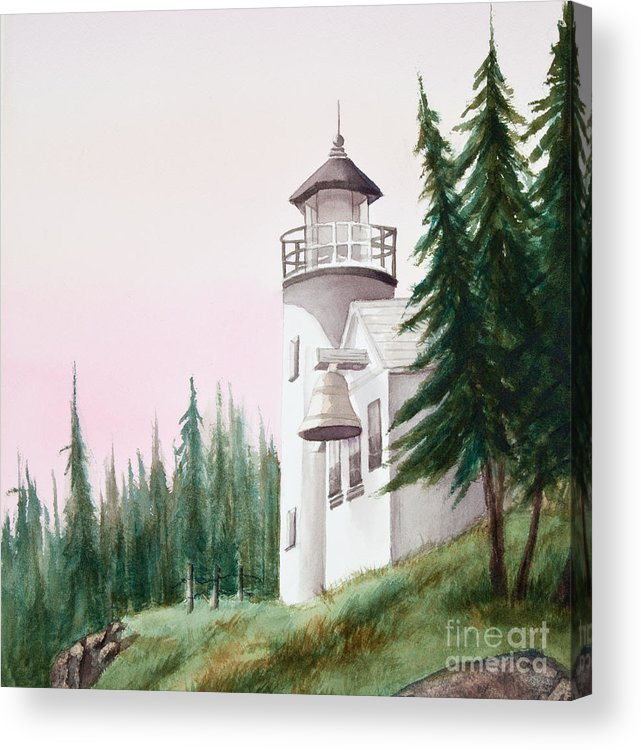 Lighthouse Acrylic Print featuring the painting Lighthouse At Sunrise by Michelle Constantine