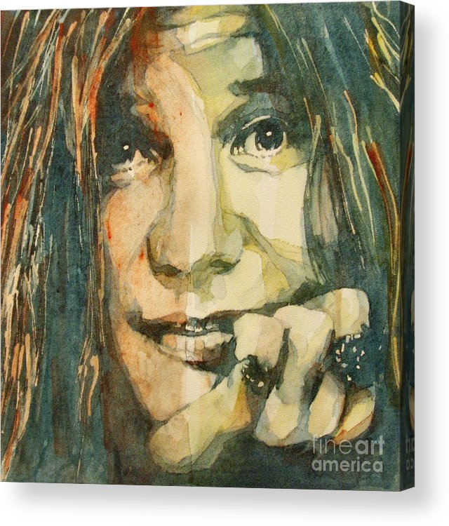 Janis Joplin Acrylic Print featuring the painting Mercedes Benz by Paul Lovering