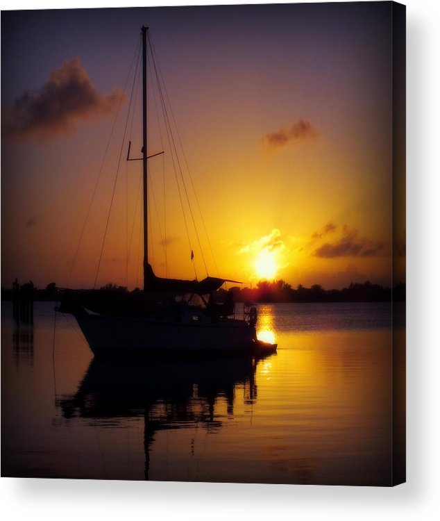 Sailboats Acrylic Print featuring the photograph Silence Of Night by Karen Wiles