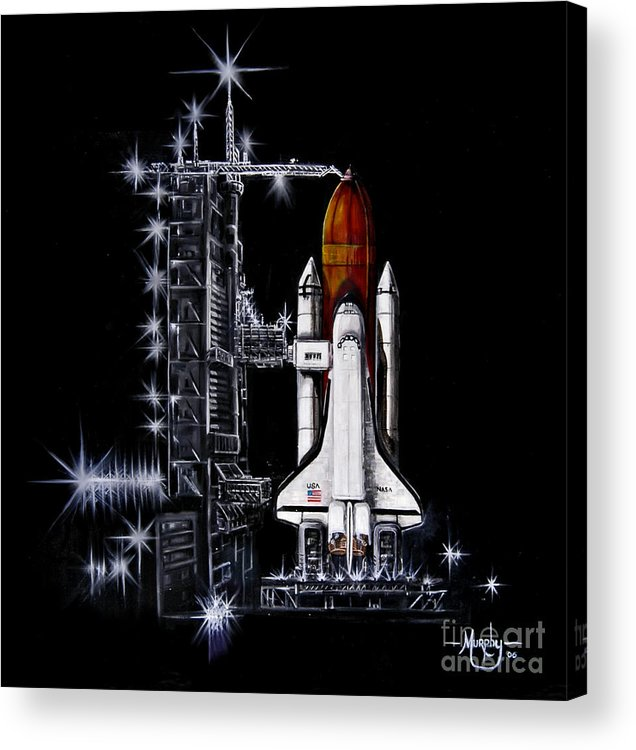 Shuttle Acrylic Print featuring the painting The Night Before by Murphy Elliott