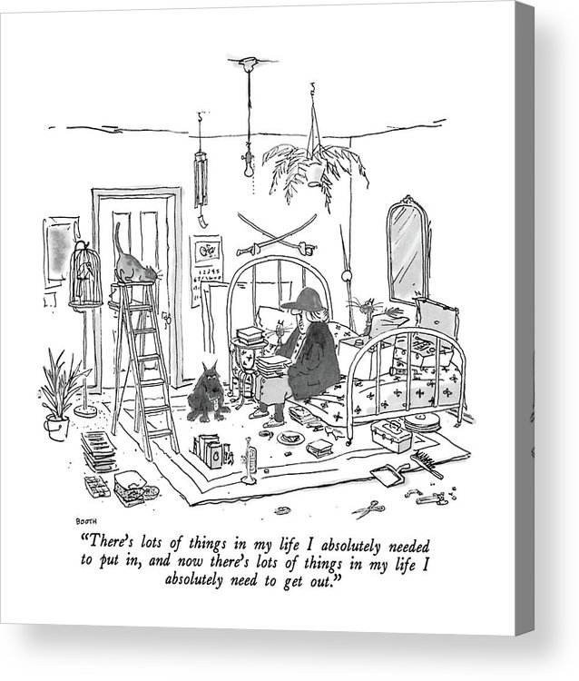 Old Lady With Baseball Cap To Her Many Pets As She Sits On The Bed In Her Apartment. Her Junk Has Been Neatly Lined Up. Interiors Acrylic Print featuring the drawing There's Lots Of Things In My Life I Absolutely by George Booth