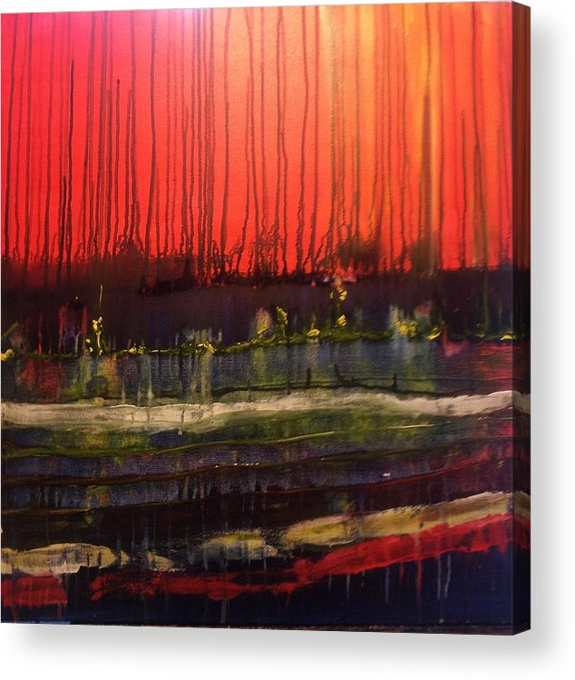 Orange Acrylic Print featuring the painting Aftermath by Renate Nadi Wesley