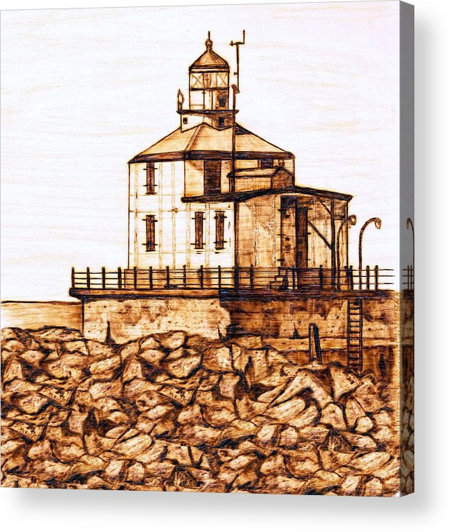 Lighthouse Acrylic Print featuring the pyrography Ashtabula Harbor by Danette Smith