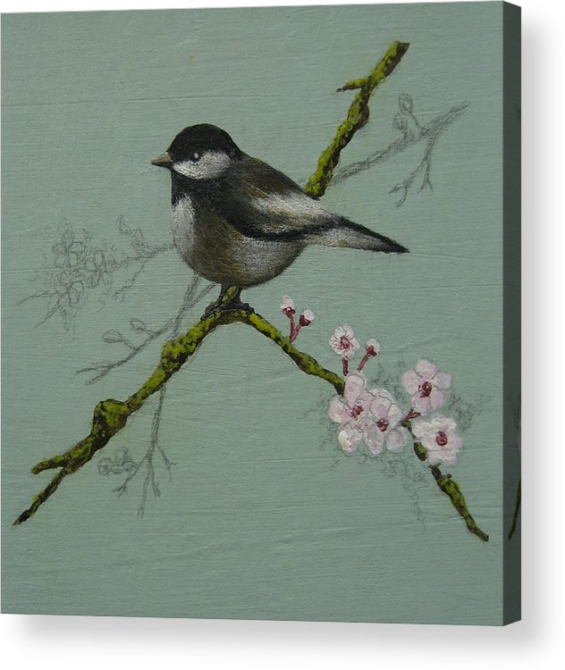 Miniature Acrylic Print featuring the painting Chickadee by Victoria Heryet