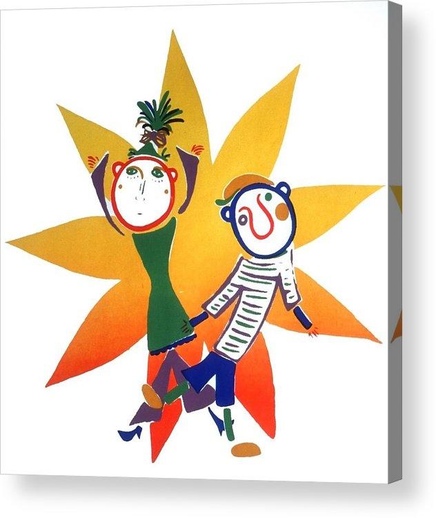 Sun Acrylic Print featuring the painting Dancing by Minako Oka