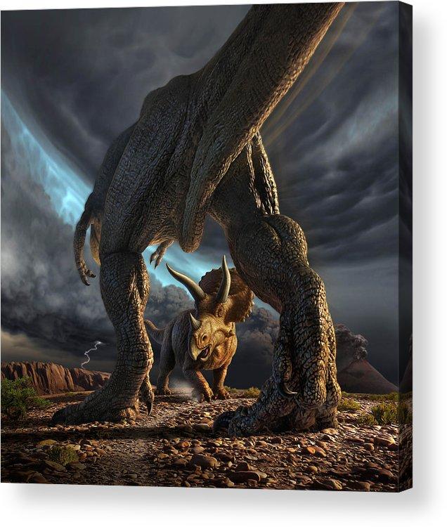 Dinosaur Acrylic Print featuring the digital art Face Off by Jerry LoFaro