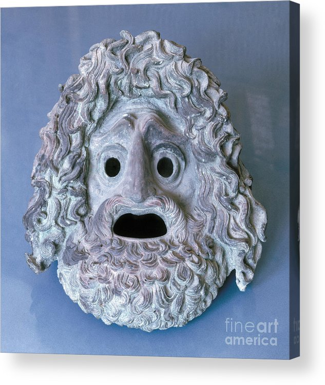 Ancient Acrylic Print featuring the photograph Greece: Theatrical Mask by Granger