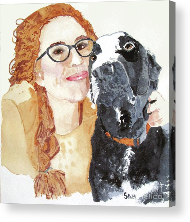 Girl Acrylic Print featuring the painting Livvy And Amos by Sandy McIntire