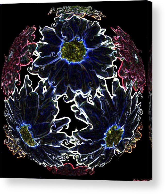 Botanical Acrylic Print featuring the photograph Neon Mums by Evelyn Patrick