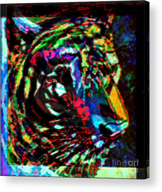 Wildlife Acrylic Print featuring the digital art Tiger Se by Brenda L Spencer