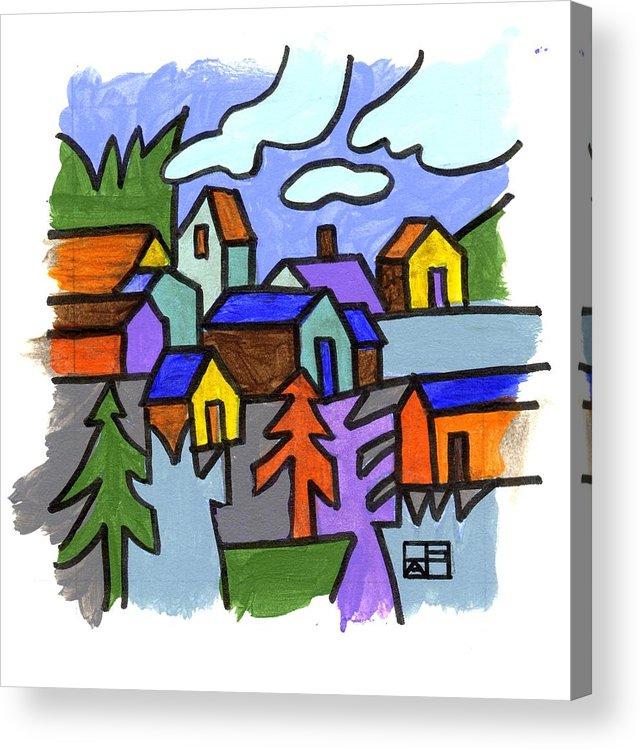 Landscape Design Acrylic Print featuring the painting Village Scene by Helen Pisarek