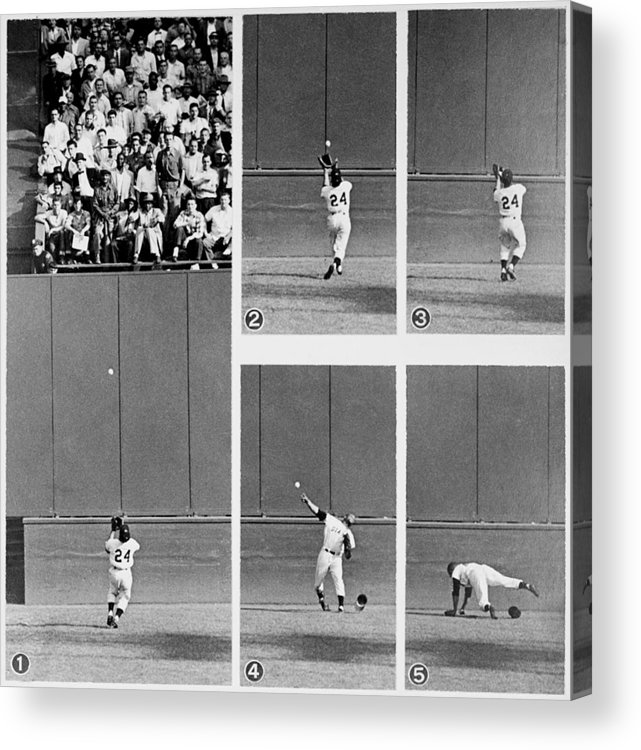 1950-1959 Acrylic Print featuring the photograph Photo Sequence Willie Mays Makes His by New York Daily News Archive