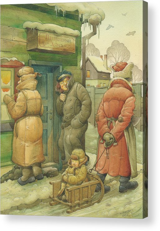 Russian Winter Acrylic Print featuring the painting Russian Scene 07 by Kestutis Kasparavicius