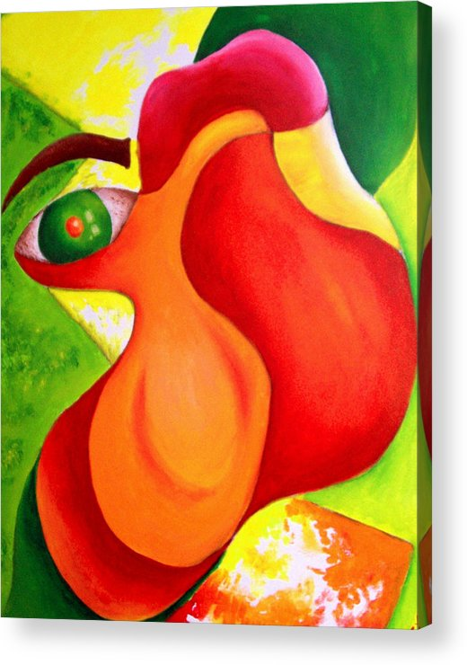 Vivid Contemporary Abstract Acrylic Print featuring the painting Anxiety by Shasta Miller