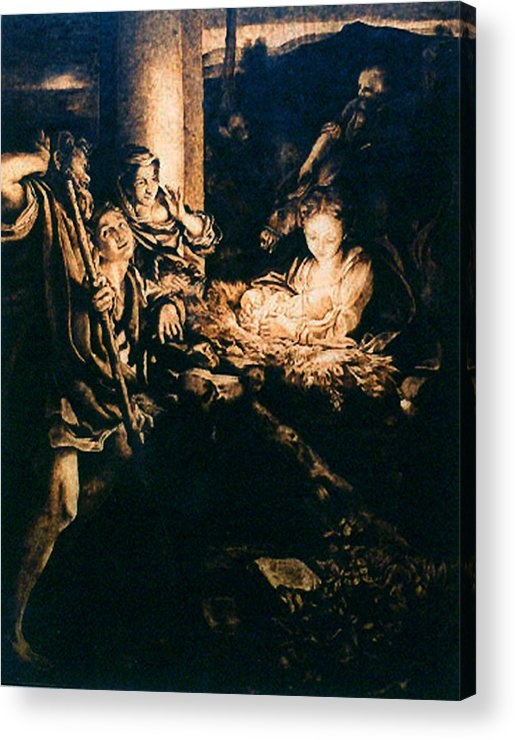 Dino Muradian Acrylic Print featuring the pyrography Adoration Of The Shepherds by Dino Muradian