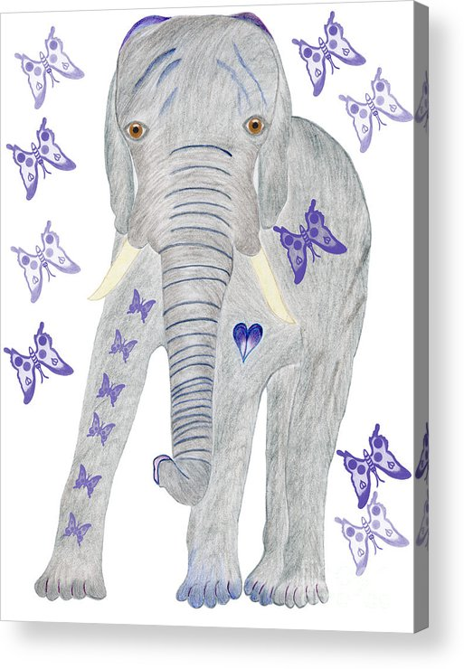 Elephant Acrylic Print featuring the painting Brandy And The Butterflies by Tess M J Iroldi