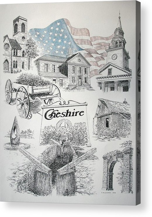 Connecticut Cheshire Ct Historical Poster Architecture Buildings New England Acrylic Print featuring the drawing Cheshire Historical by Tony Ruggiero
