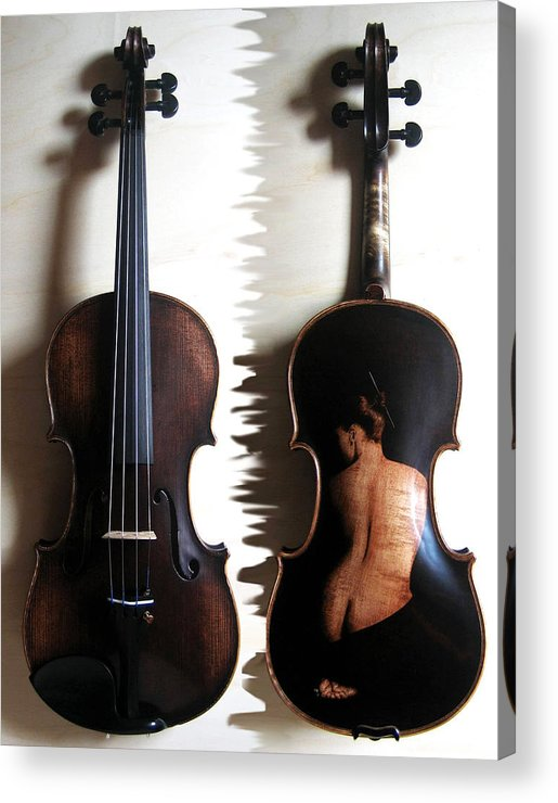 Dino Muradian Acrylic Print featuring the pyrography Custom Gliga Violin 2 by Dino Muradian