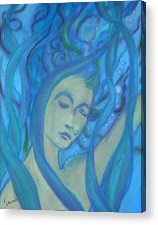 Crayon Acrylic Print featuring the painting Even Mermaids Get The Blues by Todd Peterson