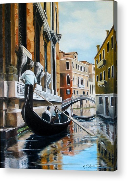 Venice Acrylic Print featuring the painting Gondola Ride On Venice Italy Canal by Jim Horton