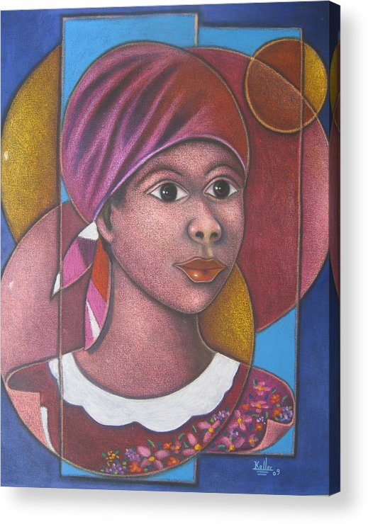 Haitian Acrylic Print featuring the painting Jeune Fille En Rose by Keller